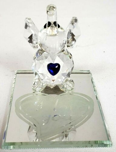 """Crystal Elephant On Mirror """"I Love You"""" Blue Heart Made in Czech Republic"""
