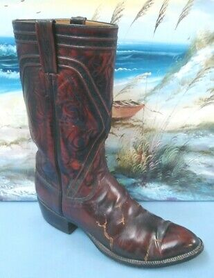 Lucchese Classics Leather Cowboy Boots 9 D 7106 Black Cherry Dust Covers Boot - Leather Boot Covers
