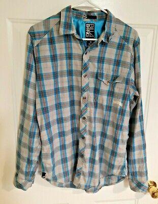Billabong Mens Size Medium Long Sleeve Gray & Blue Plaid Button Down Shirt
