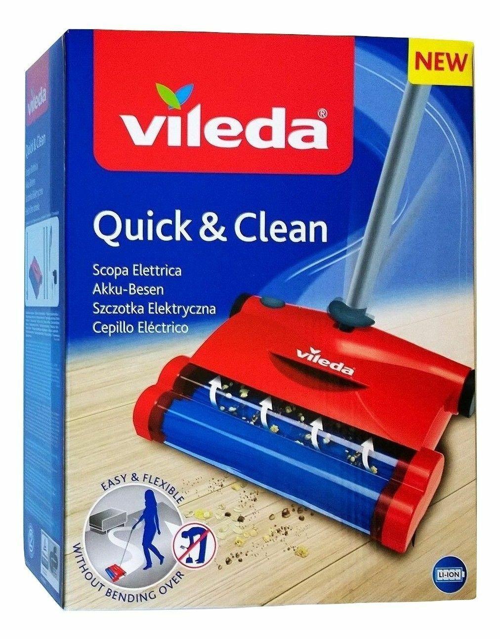 Vileda Quick & Clean Akkubesen Teppichkehrer Rot