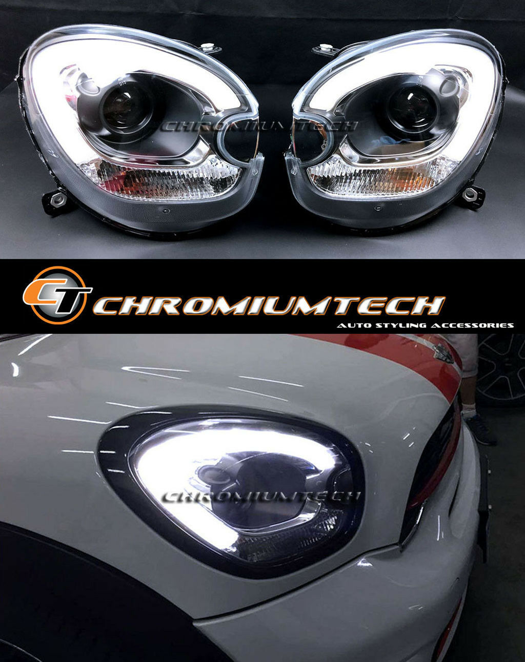 MINI Cooper R60 Countryman R61 Paceman F60 Look Headlights LED DRL for Xenon LHD