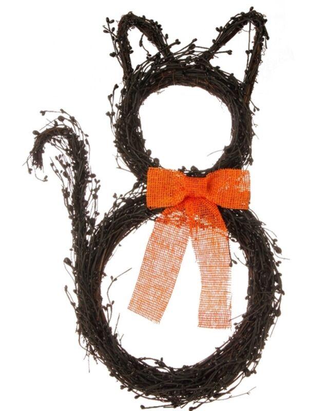 "Raz 22"" Black CAT WREATH Grapevine 22"" HALLOWEEN decoration W3506943"