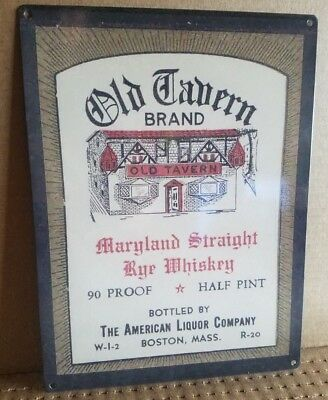Old Tavern Sign - Old Tavern brand whiskey vintage label ad reproduction steel sign bar decor