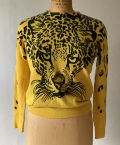 Vintage 1980s Womens Wool Sweater Panther Tiger