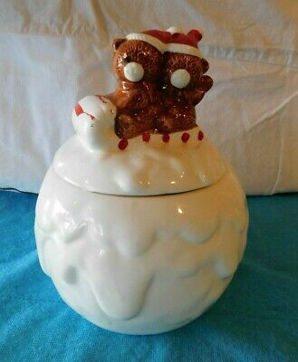 "Vintage MCM Teddy Bear Riding Sled on Big Snow Ball Cookie Jar Christmas 6"" x 8"""