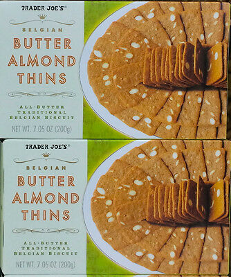 (2 Boxes Trader Joe's Butter Almond Thins Traditional Belgian Biscuit 7.5ozBx)