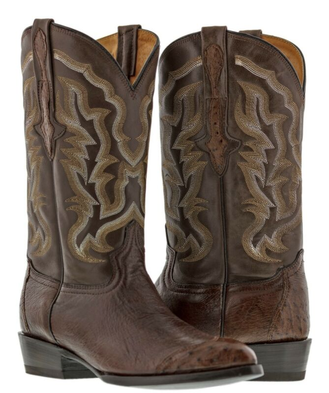 mens, brown, genuine, leather, cowboy, boots, real, ostrich, exotic, crocodile, skin, rodeo