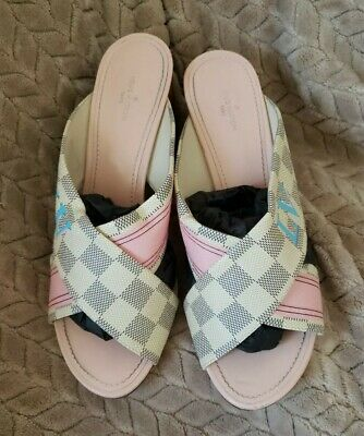Louis Vuitton Mule 3.25 Hill Damier Asur with Pink & Blue Accents Size 40Eu=10US
