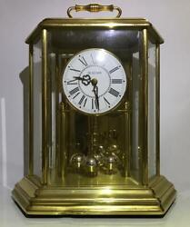 Bulova Anniversary Mantel Clock Hexagon Carriage Style Brass Working Vintage