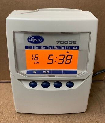 Lathem 7000e Calculating Time Clock 300 Time Cards Card Rack Spare Ribbon