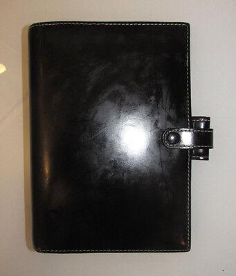 Vintage Filofax Personal Organizer Planner Soho Black Leather White Stitch