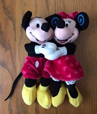 (Disney Store Valentine Heart Hugging Holding Mickey Minnie Mouse Bean Bag Plush)