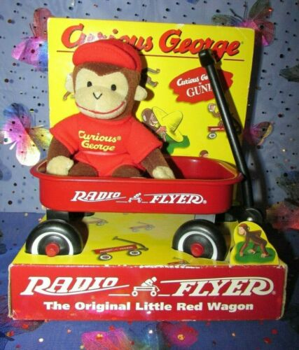 1998 Curious George By Gund With Metal Radio Flyer Wagon - New in Box