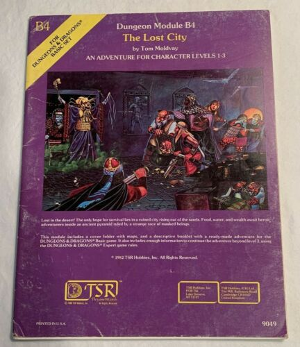 Advanced Dungeons and Dragons  The Lost City Module B4 (9049) Rare 1982 edition
