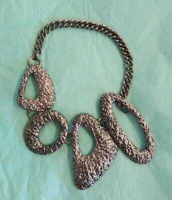 Vintage Statement Bracelet Mid Century Steam Punk Gold Tone Jewelry Unique