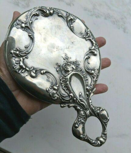 Antique Ornate Sterling Silver Loop Handle Mirror by Simpson Hall & Miller