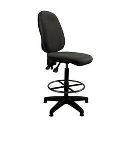 BLACK FABRIC DRAUGHTSMAN COUNTER OFFICE DESK COMPUTER LAB HIGH CHAIR