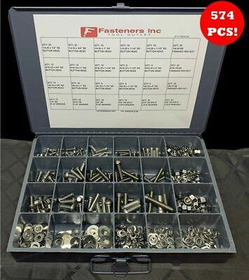 574 Pcs Stainless Steel Button Socket Head Cap Screw Allen Bolt Assortment Kit