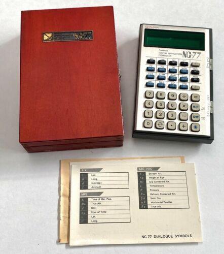 Vintage Rare TAMAYA NC-77 DIGITAL NAVIGATION COMPUTER W/ Wood Case
