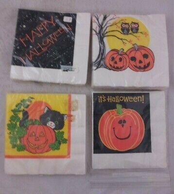 Halloween Party Decor Napkin Vintage lot 80s 90s new pumpkins cat - 80's Halloween Party Decorations
