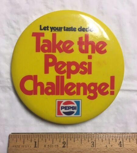 "Vintage Take the PEPSI Challenge! Yellow Pinback Pin 4"" Round Button"