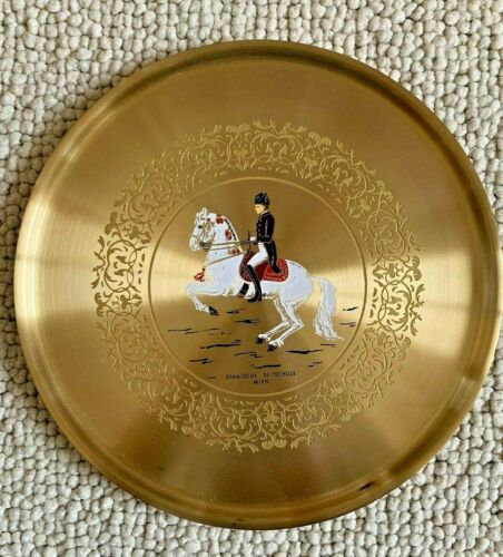 Spanish Riding School Lipizzaner Damascene PLATE Metal Etched Enamel Horse