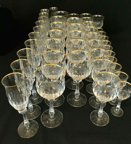 Mikasa Gold Crown Cut Crystal Water Goblets Wine Glasses Flutes Cordial Glasses