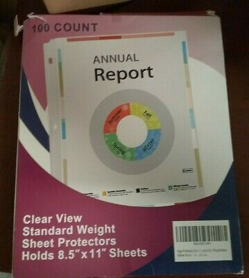 Clear View 100 Ct Sheet Protectors Std Wt 8.5 x 11