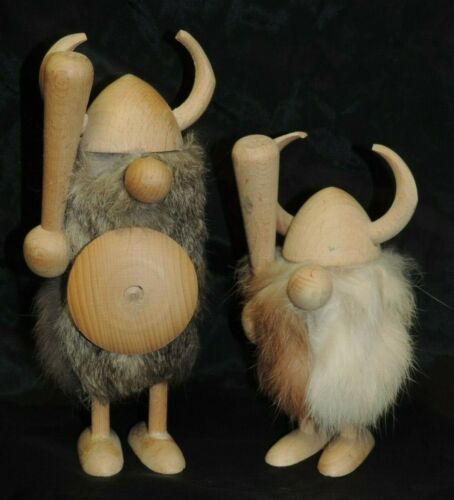 LOT 2 VINTAGE HAND CARVED WOOD VIKING FIGURES WITH CLUBS FUR JACKETS DENMARK
