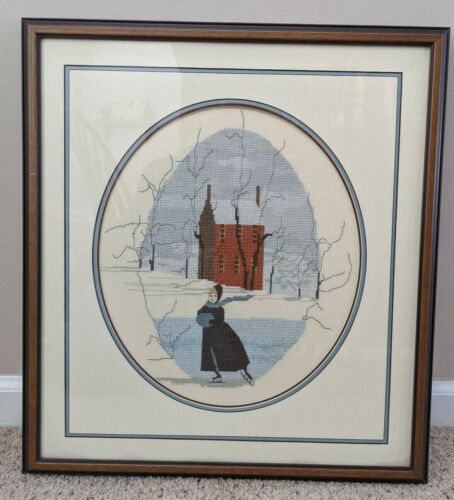 P Buckley Moss SOLITARY SKATER Completed Cross Stitch Matted Framed Picture