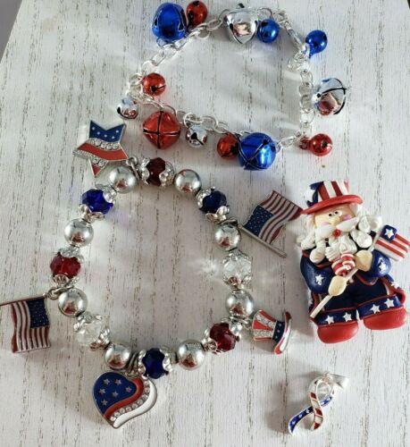 Patriotic American Flag Pins Bracelet Ribbon Pendant  Lot 4th JULY Independence