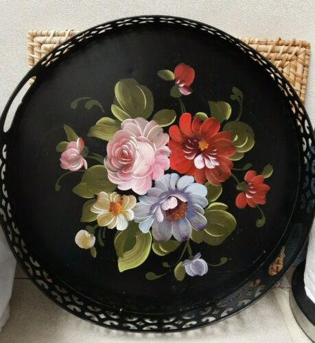 """Tole Tray Floral Hand Painted Large 14"""" Round Metal with Cutout Handles Vintage"""