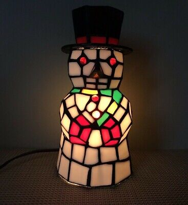 """Vintage Tiffany Style 8"""" Snowman Holiday Table Lamp"""