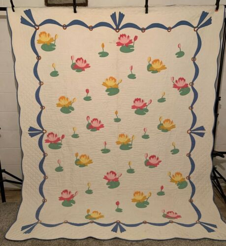Vintage Hand Appliqued Quilted Water Lilies QUILT Kit? BEAUTIFUL