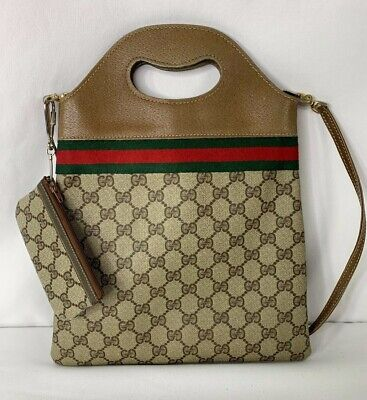 Vintage Gucci Tote Bag Canvas With Leather Handle With Strap and Coin Purse