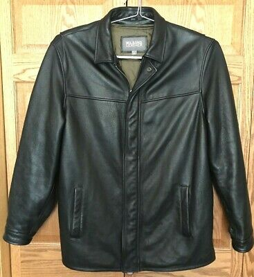 Wilsons~Blk Leather~Hip Length~Zip Front Jacket~Zip Out Liner~Mens -