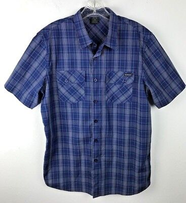 Oakley Blue Plaid Shirt Size M Short Sleeve Button Front Cotton Polyester Mens, used for sale  Shipping to India