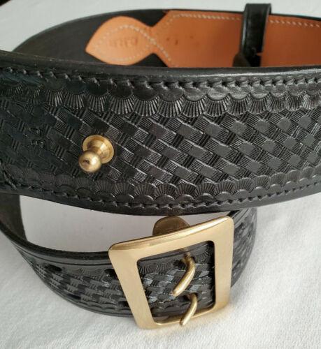 Triple K Krasnes Duty Belt Size 34 Black Tooled Leather Basket Weave Brass CHP
