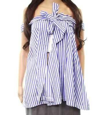 (NWT Whyte Eyelash Striped Off Shoulder Sleeveless Blouse Top Zipper Tied Sz L)