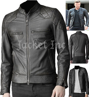 MENS BLACK REAL LEATHER JACKET VINTAGE BIKER SLIM FIT GENUINE NEW ...