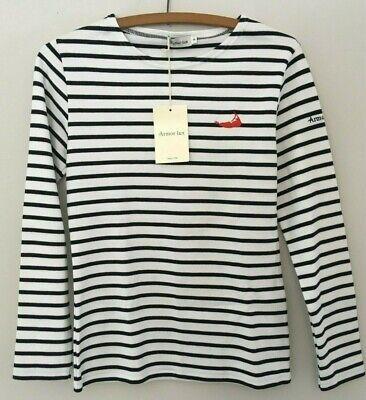 Armor Lux Breton Lesconil Long Sleeve Striped Shirt White/Rich Navy Wm Sz 0 NEW