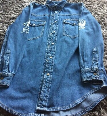 BLUE DENIM SHIRT DRAGON PRINT ON ARMS AND BACK  CHEST 40""
