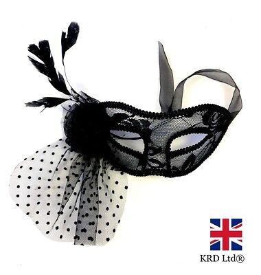 FEATHER LACE MASQUERADE MASK Venetian Party Ball Carnival Halloween Fancy Dress ()