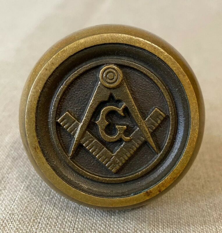 Freemason Masonic Bronze Door Knob Antique Vintage lodge Fraternal Order