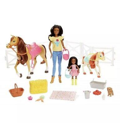 Barbie Hugs 'N' Horses Playset - Black Hair- Box Damage