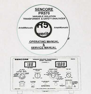 Sencore Pr570 Isolation Transformer Tester Operating Service Manual