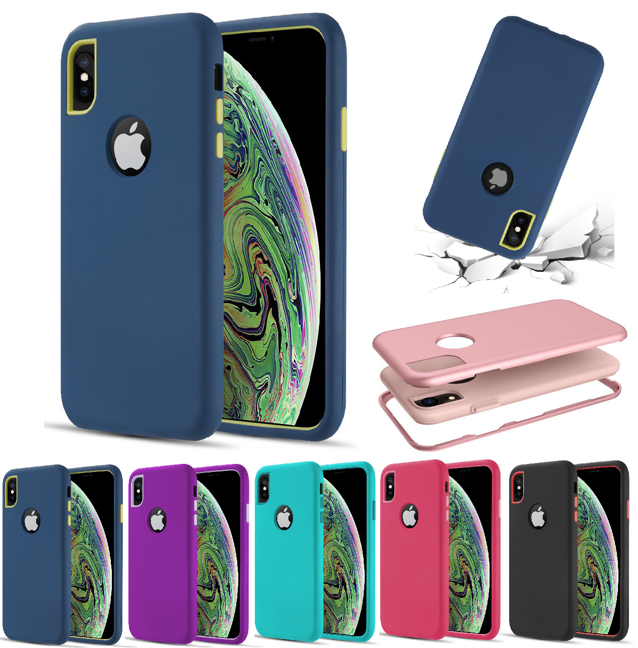 For iPhone XR / XS Max / X / 8 7 6 Plus Protective Heavy Dut