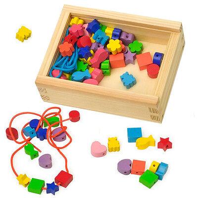 Fädelspiel Fädelspaß Fädelperlen Holz Motivperlen Kinder Perlen Fädelbox Motorik