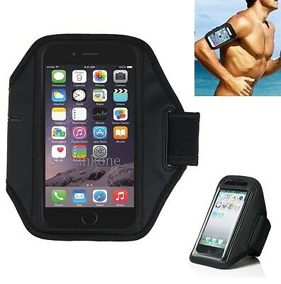 Black Neoprene Sports Running Armband Case w/KeyPouch for iPhone 6 Plus / 7 Plus