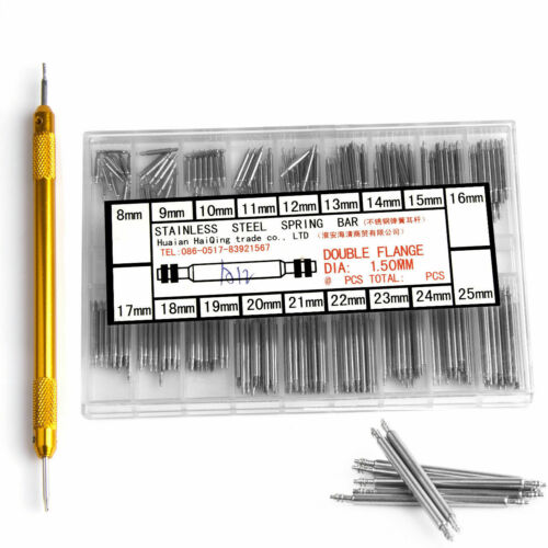 Watchmaker Watch Band Spring Bars Strap Link Pins +Remover Steel Repair Kit Tool
